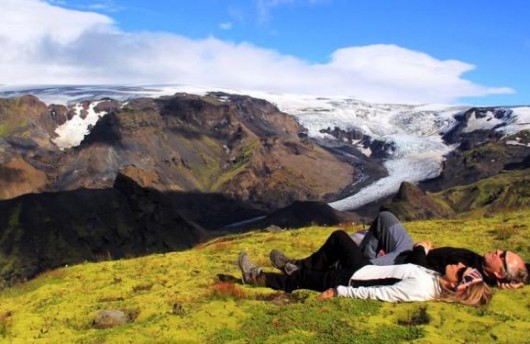 Enjoying a relaxing break in the shadow of a glacier